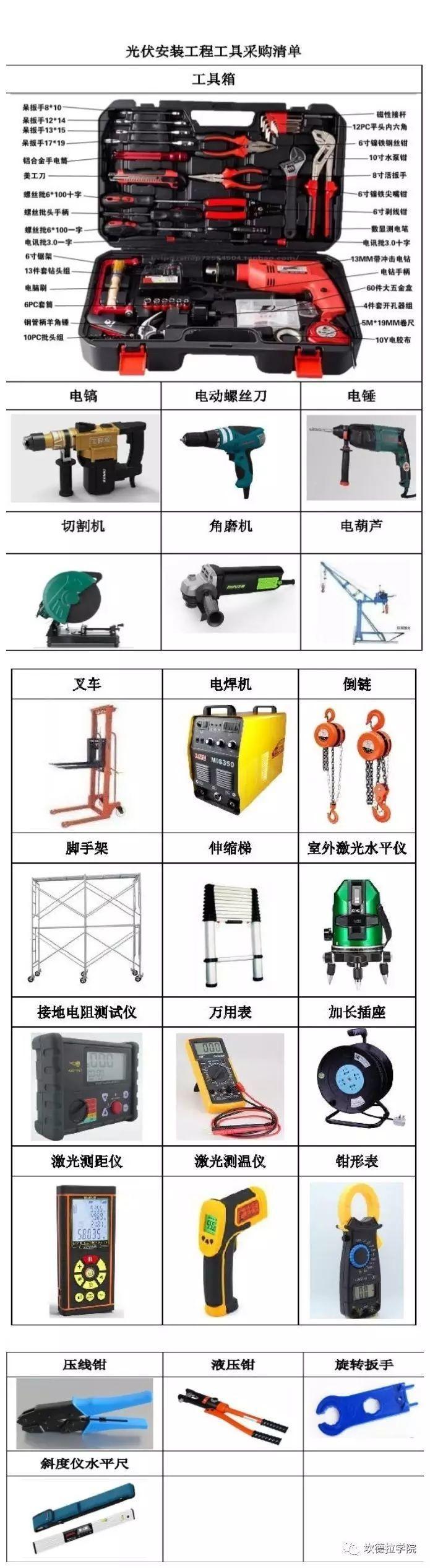 安装光伏电站你需要的工具大全!(收藏)